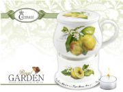 Designer Porcelain Mug with Lid and Heater Decorated with Lemons